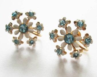 Vintage Rhinestone Flower Earrings