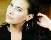 VALENTINES SALE Ruby Sapphire Tassel Earrings Wire Wrap Gem Ruby Gold Fill Tassel Earring Red Topaz Black Spinel Gold Statement Earring Holi