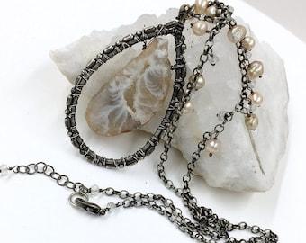 55% OFF SALE Boho Necklace Agate Druzy Slice Necklace Oxidized Sterling Silver Raw Gem Stone Slab Slice Raw Mineral Jewelry Beige Pearl Dang