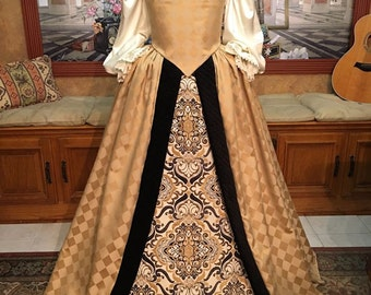 Custom Sized Elizabethan Renaissance Court Gown for Nobility or Royalty