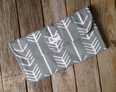 Gray Arrow Diaper Clutch with Changing Pad - Grey - Geometric - Modern -  Baby Shower Gift - Boy - Girl - New Mom Gift - Roll Up - Pink