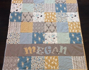 Yellow Boho Woodland Baby Quilt - Personalized Baby Quilt - Blanket - Crib Size - Deer - Arrow - Blue - Rustic - Modern - Antler - bohemian