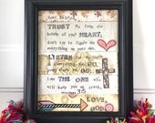 Dear beloved framed mixed media spiritual collage original