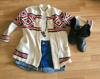Vintage aztec navajo winter outerwear sweater cardigan size xs or sm
