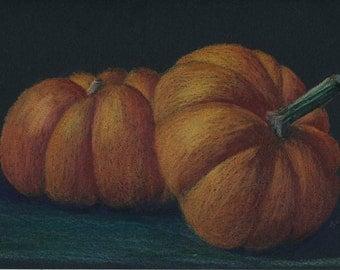 Two Pumpkins - Original Colored Pencil Drawing