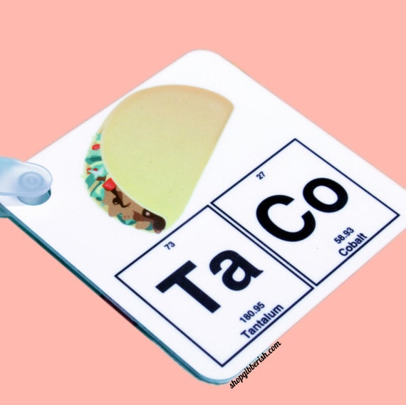 Taco Chemistry Science Emoji Keychain - Key Ring - Periodic Table of Elements - Science Teacher Gift Idea - Donut, Maker, Wine, Beer