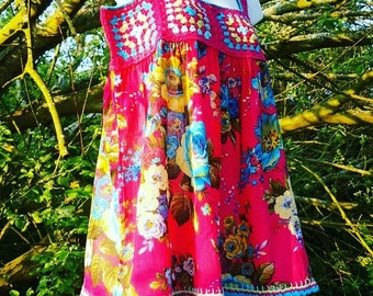 Boho Granny Square Crochet and Fabric Summer Top, Festival Top