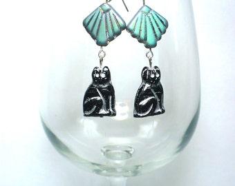 Karina's Art Deco Vitrial Egyptian Revival Goddess Bast Bastet Kitty Cat Dangle Earrings Sterling Silver Ear Wires