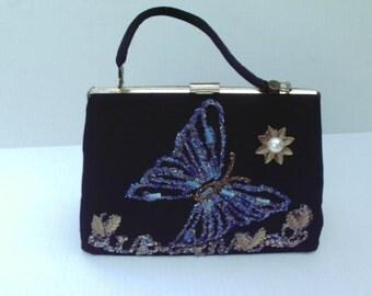 Kitschy Vintage Black Purse Beaded Butterfly Metal Leaves 1960s Handbag Pocketbook bag Embellished