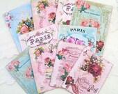 Scrap Set, Embellishment Destash Paris Roses, French Vintage Tea Cup Note cards, tags, Mini Album, Altered Art, Shabby Vintage, Journaling