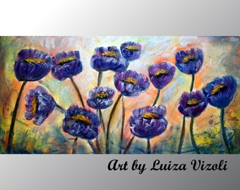 Abstract Flowers Original Modern Impressionist Purple Cream Large Painting FIELD Of TULIPS by Luiza Vizoli