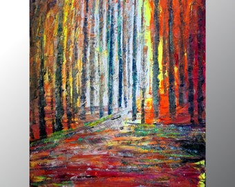 Spring to fall Oil Painting original painting on Canvas Birch Trees Season