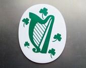 "Car Auto Magnet Celtic Harp Shamrocks Fridge File Cabinet St Patrick's Day 5""h X 4""w oval"