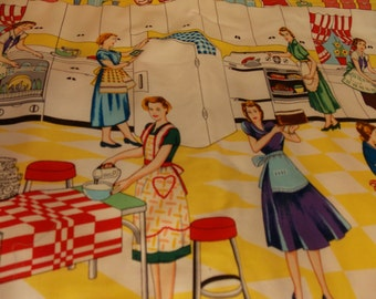 Vintage Kitchen Table Mat-Vintage Ladies Baking-Vintage Mat