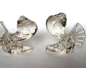 1940's Paden City Glass Powter Pigeons Bookends Paperweights or Glass Bird Figures