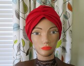 1960s-70s Red Turban - 1950s Lana Turner - Swami - Chic Head Cover - Hollywood