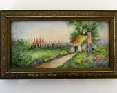 Reserve for Christine Antique Hand Painted Tile Framed Miniature painting Cottage Flowers So Lovely Superb Work Framed