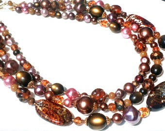 Redesigned Vintage Japan and Semi Precious Agate Stones Handmade Statement Necklace