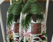 2 Crocheted Christmas Hanging Kitchen Towels - Holly