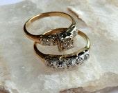 Vintage 14K Diamond Wedding Ring Set ca 1960 signed Cosmic Bridal Ring Set