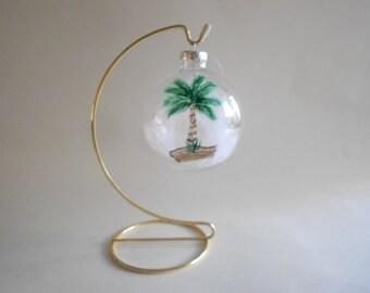 Palm Tree Handpainted Christmas Glass Ball Ornament Holiday Ornament Suncatcher Home Decor Tree Ornament