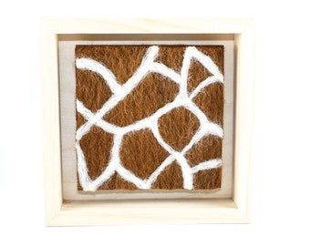 Needle Felted Giraffe Swatch - Wool Fiber Art in Square Natural Wood Frame