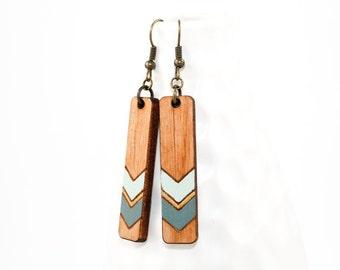 Laser Cut Wood Dangle Earrings - Handpainted Chevron Pattern (Slate Blue w/ Pale Blue on Maple) Gifts for Her