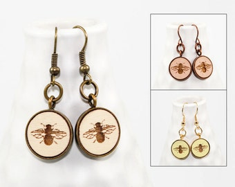 Bee Dangle Earrings - Laser Engraved Wood (Choose Your Color)