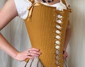 Elizabethan Effigy Corset Stays size XS in mustard Linen, Reed Boned Historical Corset 1600 1590s Queen Elizabeth Style