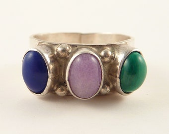 Size 7 Vintage Sterling Malachite Amethyst and Lapis Native American Style Ring by Manygoats