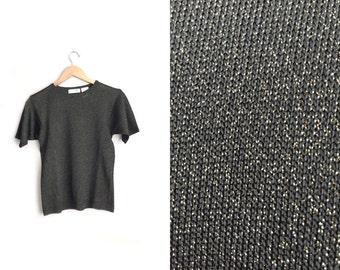 Size XS // METALLIC TEE // Black Short Sleeve Top - Gold Metallic Detail - Disco Punk - Vintage '90s.