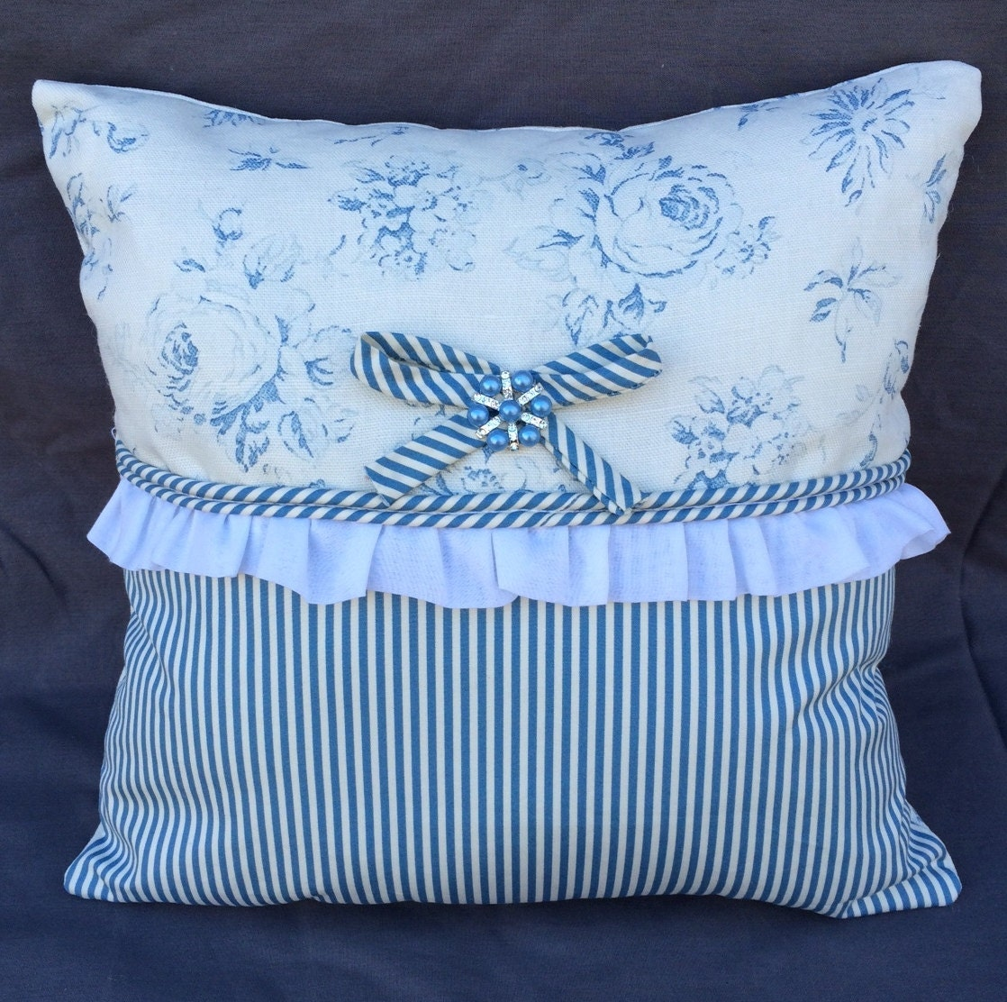 Shabby Chic Linen Pillows : Shabby Chic Rose linen Ralph Lauren fabric pillow with ruffle