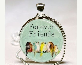SaLe FOREVER FRIENDS Birds on a Wire Altered Art Glass Pendant Charm Necklace