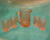 Vintage Miniature Depression Glass Reproduction Set Pitcher & Glasses Pink #292