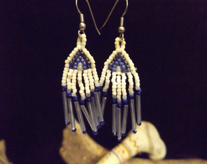 Hand Woven Bead Earrings, Woven Bead Work Earrings, Native American inspired. Seed Bead Earrings, Woven Bead Earrings, Healing Jewelry