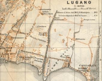 1891 Antique City Map of Lugano, Switzerland
