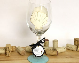 Scallop shell, Seashell wedding, beach wedding, beach table decor, ocean wedding, painted wine glasses, large wine glasses, beach wedding