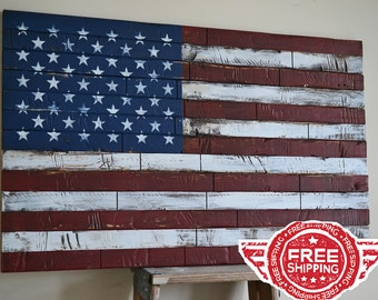 Vintage American Flag Wall Art wood american flag | etsy