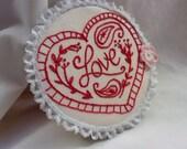 Embroidery Hoop Art, Love,  Embroidery Heart, Hoop Art, Embroidery Wall Art, Red Work Embroidery, Red Heart