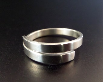 "1/8"" STERLING Wrap or Twist Polished Ring 1 Metal Stamping Blank 18 Gauge  -  1/8"" Curve on Ends - 1 Flat Blank - Choose length"