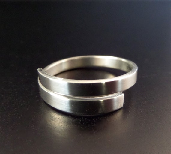 "1/8"" STERLING Wrap or Twist Polished Ring 1 Metal Stamping Blank 18 Gauge  -  Square Ends - 1 Flat Blank - Choose length"