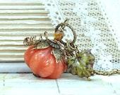 Orange Pumpkin Necklace Thanksgiving Necklace Autumn Jewelry Halloween Necklace Falll Necklace Pumpkin Jewelry