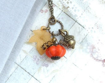 Pumpkin Necklace Leaf And Acorn Necklace Fall Necklace Pumpkin Jewelry Autumn Necklace Fall Jewelry