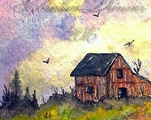 Original Art Barn & Poppies Landscape ACEO Painting