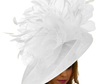 Mundhoo White Fascinator Hatinator Hat for Kentucky Derby, Weddings on a Headband (20 colours available)