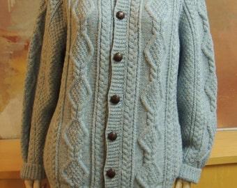 Blarney Woollen Mills  Irish Knit Cardigan Sweater XL Heather Blue