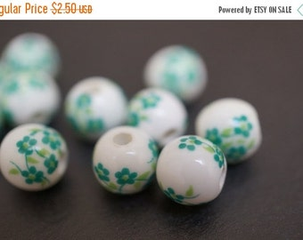 FALL CLEARANCE Japanese White Round Porcelain Beads with Classic Forest Green Flowers Beads  - 8mm - 6 pcs