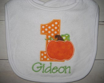 Boutique First Birthday pumpkin fall bib