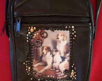 SALE... Black Leather Purse with Vintage Hound Dogs and Rhinestones