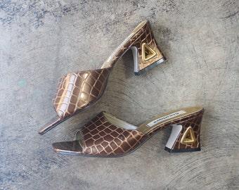 8 M Metal Heel Mules / Vintage Women's 90's Shoes / Bronze Geometric Slides